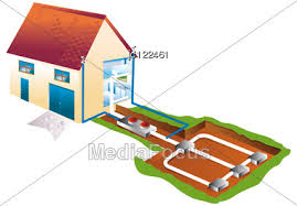 air conditioning and geothermics in basement stock image jc122461