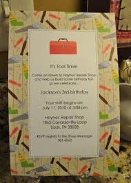 construction birthday party invites paper tool belts and a