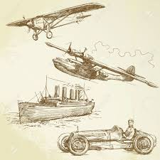 old vehicles airplanes ship racing car royalty free cliparts