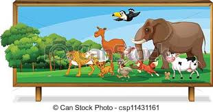 clip art vector animals jungle board illustration