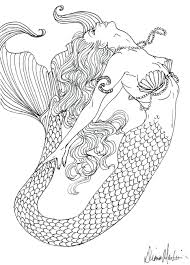 detailed coloring pages adults realistic mermaid tagged