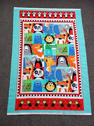 Baby Nursery Fabric Baby Quilt Fabric Zoo Animal Fabric Panel Gender Neutral Baby