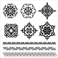 set kazakh asian ornaments and patterns stock vector