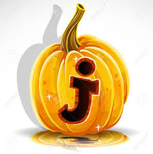 happy halloween font cut out pumpkin letter j royalty free