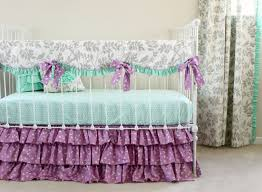 purple crib bedding mint and purple baby bedding set