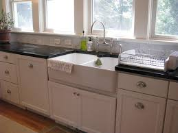 Vintage Kitchen Cabinet Hardware White Farmhouse Sink Apron Sink White Cabinets Dark Counter Tops