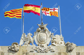 Barcelona Spain Flag Flags Waving In The City Of Barcelona Spain Detail Of The Shield