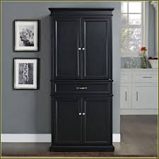 Kitchen  Black Tall Stand Alone Kitchen Pantry With Cabinet And - Black kitchen pantry cabinet