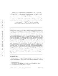 optimizing performance per watt on gpus in high performance