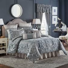 Bedding Collection Sets Croscill Gabrijel Damask Slate Blue 4 Comforter Set