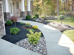 concrete pathway with country styled landscaping ideas for small