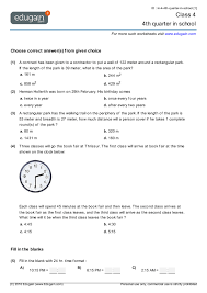 class 4 math worksheets and problems 4th quarter in