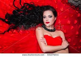 beautiful woman red lips bright makeup stock photo 591079214
