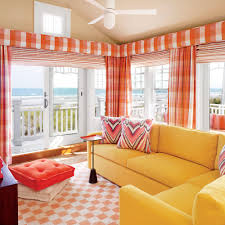 Orange Curtains For Living Room 20 Ways To Decorate With Orange And Yellow Coastal Living
