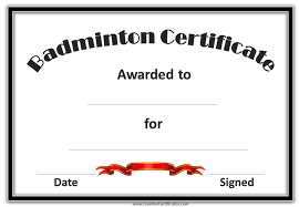 free badminton certificate template customize online