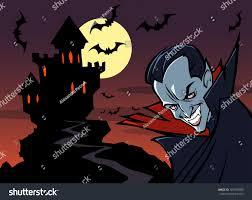 halloween background outlines halloween background vampire castle moon bats stock vector