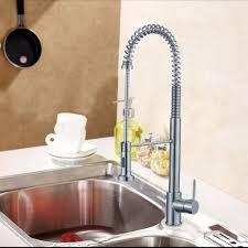 chrome finished brass kitchen faucet pull out spray head 82h07