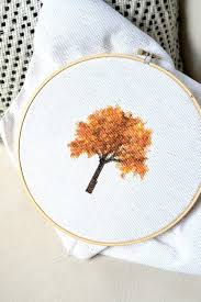 fall tree cross stitch and how i create my own patterns free