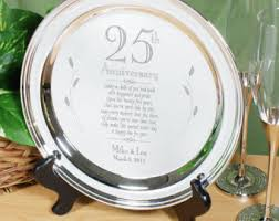 25th anniversary plates silver plate etsy