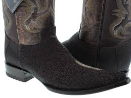 mens brown genuine stingray skin leather western cowboy boots
