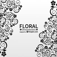 black floral ornaments vector free