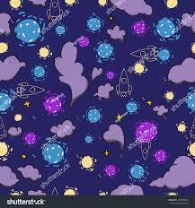 cosmos clouds stars seamless pattern cartoon stock vector