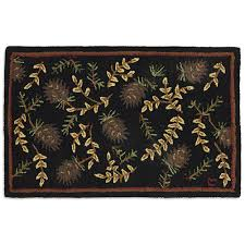 pine cone area rug clearance log cabin hooked rug cabin place