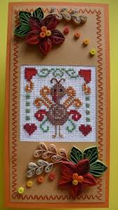 quilling thanksgiving day cross stitch card give от evashop74