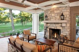 Motorized Screens For Patios Custom Fireplace Screens Porch Traditional With Beams Box Beams