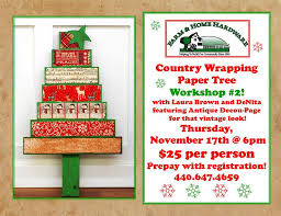 farm home hardware country wrapping paper tree workshop