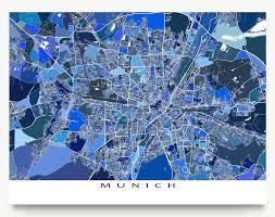 Munich Germany Map by Munich Germany Map Art Print Munchen Munich Map Germany Map