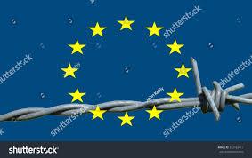 The European Flag Refugee Drama Fortress Europe On European Flag Stock Illustration