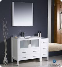 Fresca Torino  White Modern Bathroom Vanity W Side Cabinet - 48 white bathroom vanity cabinet