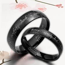 black wedding rings anysize anywords black lord of ring elvish engrave