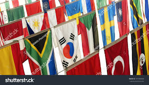 Hanging American Flag Vertically Flags Many Countries Hang Vertically Representing Stock Photo