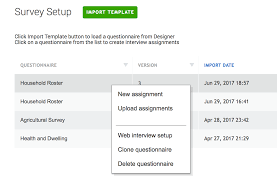 survey solutions survey setup tab import copy and dele