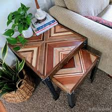 Nesting End Table With Decorative Wooden Inlay Using Scrap Wood