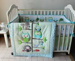 Boy Owl Crib Bedding Sets Delightful Cot Quilt Sets 6 Happy Owls And Friends Three Animals