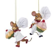 chef mouse holding cupcake ornaments 2 assorted kurt s adler
