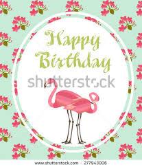 happy birthday card flamingo stock vector 277943006 shutterstock