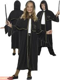 kids black wizard cloak magician fancy dress up costume book week