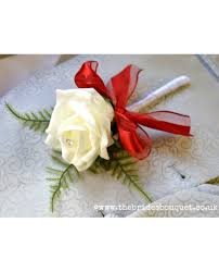 wedding flowers for guests 3 00 1 single buttonholes in ivory and bow artificial