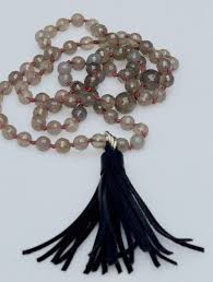 leather necklace knot images Grey agate with leather tassel hand knot necklace vanessa webb jpg
