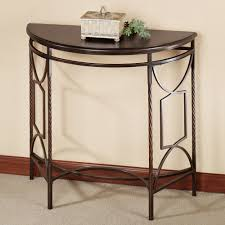 Corner Tables For Hallway Saving Small Hallway Spaces With Mahogany Demilune Table Top And