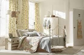 shabby chic bedroom interior design with floral curtain window as