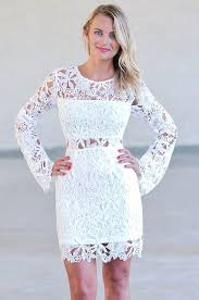 off white longsleeve lace dress rehearsal dinner dress bridal