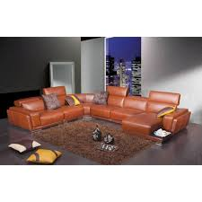 Sofa Casa Leather Casa 2996 Modern Orange Leather Sectional Sofa