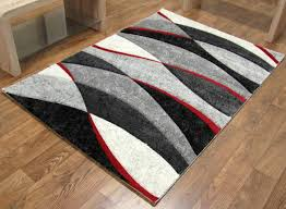 Modern Red Rug by Tempo Wave Rug Black Red