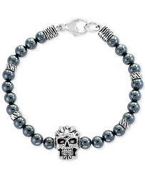 bracelet skull silver images Effy collection effy men 39 s hematite 6mm beaded skull bracelet tif