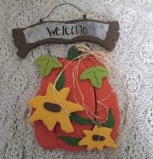 wooden welcome sign pumpkin by sheekydoodlecreations on zibbet